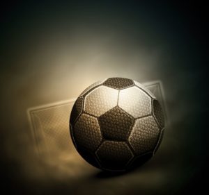 Free-soccer-ball-on-the-background-of-a-soccer-gate-vector